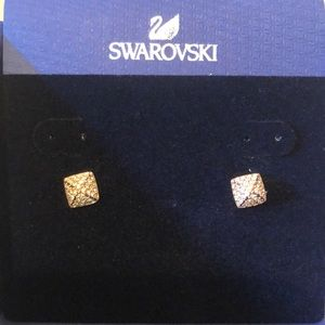 NIB Swarovski Tactic pierced earrings Rose Gold pl